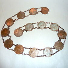"""Vintage 28"""" England 15 Copper 1930 Penny Coin Belt + Spain Alfonso 1879 Copper"""