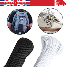 Round Elastic String Cord White Black Face Mask Waistband Sewing Tailoring 3mm
