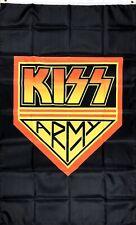 KISS Army Flag 3x5 ft Black Vertical Banner Man-Cave Music Rock Band Garage Bar