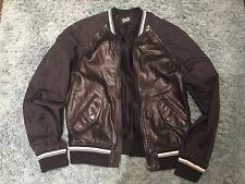 Original Dolce&Gabbana D&G Black Men Leather Bomber Jacket Removable Sleeves