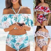 Damen Bikini Set Hochbund Rüschen Volant Badeanzug Schulterfrei Schwimmanzug JO