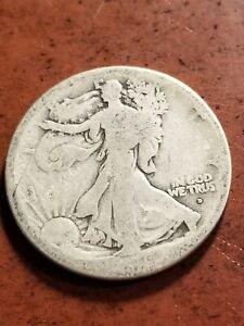 1916 D Walking Liberty Silver Half Dollar, key date      INV08     HL8112