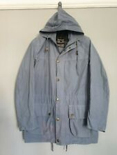 Barbour Mens Jacket Rare Hooded Cotton Lights Blue Biker Military Style Size 42