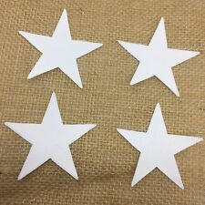 Pack of 4 Small Stars - Fabric Iron on - White -Personalisation-Bunting Making