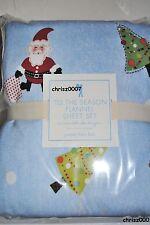 Nwt Pottery Barn Kids Tis The Season Santa Snowman Twin Flannel Sheet Set!