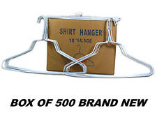 "500 HANGERS WHITE 18"" WIRE HANGER  SHIRTS NEW SEALED BX"