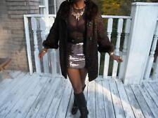 brown black persian swakara & mink Fur Coat Jacket S-M