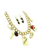 Gold Chain Shopping Necklace Sunglasses Earrings Set Sneakers Ring Hat Charms