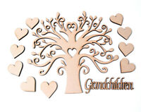 Wooden MDF Tree Shape Family Tree with 10 Hearts & Grandchildren word Frame Tree