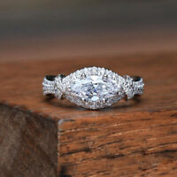 Luxury Marquise Cut White Sapphire CZ Wedding Ring 925 Silver Women Jewelry Gift