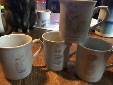 Vintage Precious Moments Coffee Mug Cup Set of Four 1985 Enesco Praying