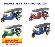 Majorette Diecast Car Set of 4 TUK TUK Thai Taxi Miniature Mini Cute Souvenir