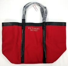 VICTORIA'S SECRET red canvas faux leather trim overnight bag tote bag  NWT