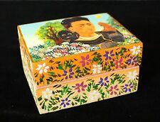 Small Wood Box Frida Kahlo her Dog & Monkey Hand Painted Flowers Folk Art Peru