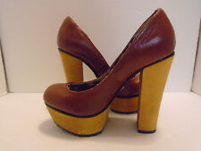 Betsey Johnson Womans Brown Leather Stiletto Heels Pumps Size 7 M