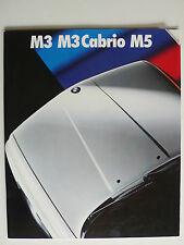 Prospekt BMW M3/M3 Cabrio E30 (215 PS), M5 E34 (315 PS), 2.1989, 36 S., 34x29 cm