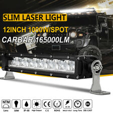"Slim 1000W 12""inch Led Laser DRL Light Car Bar Spot Beam Single Row Offroad SUV"