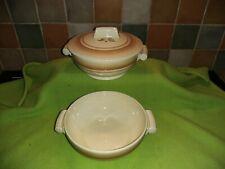 2 x VINTAGE GRINDLEY Couvercle Légumes plats motif no Grigri 321 Tan Beige