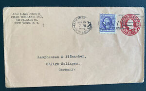 1920 New York USA Postal Stationery Uprated Cover To Solingen Germany