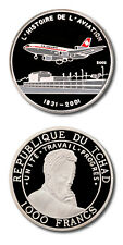 Chad McDonnell Douglas DC-10 Aircraft 1000 Francs 2002 Proof Silver Crown Color