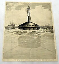1885 magazine engraving ~ PROPOSED OCEAN SIGNAL SERVICE, Mid-Ocean Station...