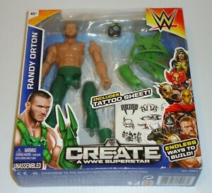 "2015 MATTEL~CREATE A WWE SUPERSTAR~RANDY ORTON~7"" ACTION FIG W/ ACCESSORIES~NIB"