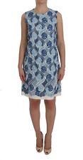 NEW DOLCE & GABBANA Dress Blue White Floral Ricamo Shift Gown IT44 /US10/L