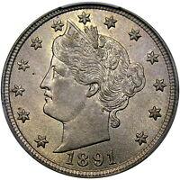 1891 5C PCGS MS63 LIBERTY NICKEL ~ ORIGINAL GOLDEN PATINA & HIGH-END!