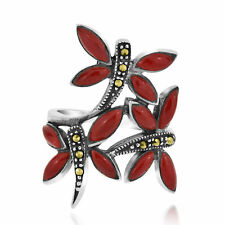 Red Coral/Marcasite 3-Dragonfly .925 Silver Ring-7
