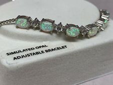 Simulated Opal Cubic Zirconia Sterling Silver-Plated Adjustable Bracelet - NWOT