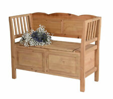Seat Chest Bench Wood Bank with Hinged Cover Garden Antique