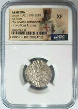 Levon I Armenia NGC XF Silver Tram Medieval Knights Templar Crusader Cross Coin