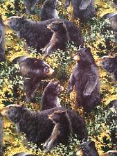 Packed Black Bears Wildlife Woods Nature Man Cave Valance 15x43 Handmade Cotton