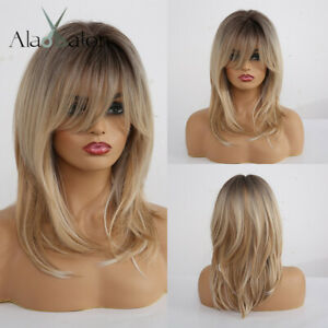 Long Straight WIGS Layered Ombre Ash Brown Blonde Full Hair Women Wig with Bangs