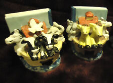 "Set Of Noah'S Ark Bookends.Approx 4"" Tall.Colorful & Detailed"