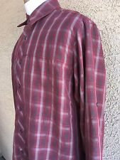 ROYAL ROBBINS Men's Relaxed Fit Large Reddish/Gray Button Down Shirt B101