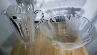 Vintage Crystal Glass Industries Pitcher and Bowl - Goose Design On Bowl