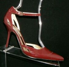 Nine West Bleum burgundy red patent leather pointed ankle strap heels 8.5M
