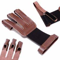 Bogensport Handschuh 3 Finger Schießhandschuh Bogenschiessen Fingerschutz Braun