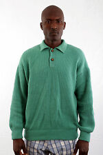 HENRY COTTON'S VTG Emerland GREEN JUMPER SWEATER TOP MENS WOOL NYLON ITALY XL