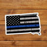South Dakota Thin Blue Stripe Sticker Decal Police American Flag Tattered USA