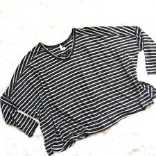 We The Free Beige Grey Striped 3/4 Sleeve Flowy Oversized Top M