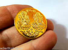 GOLD PLATED FORTUNE coin LAXMI GANESH GANESHA LAKSHMI PUJA YANTRA GOOD LUCK