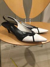 Gucci Womens Black/White Slingback Small Heels Size 8.5
