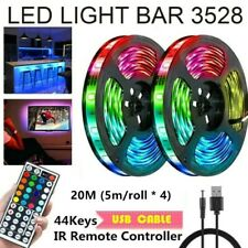 65FT Flexible 3528 RGB LED SMD Strip Light Remote Fairy Lights Room TV Party Bar