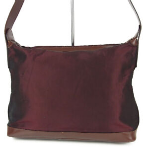 Auth GUCCI Logos Nylon Leather Shoulder Bag Bordeaux Italy F/S 16423b