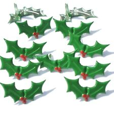 Christmas HOLLY BRADS Berry Green Holiday Scrapbooking Stamping Card Making