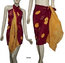 100% Cotton Tie & Dyed Beach Scarf Sarong Wrap Pareo Bikini Cover Up Dress 4504