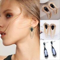 Fashion Gold Metal Chain Tassel Drop Ear Stud Earrings Women Luxury Jewelry Gift