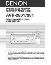 Denon AVR-2801 AV Surround Receiver Owners Manual